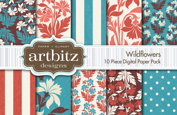 Wildflowers Digital Paper 10 Piece
