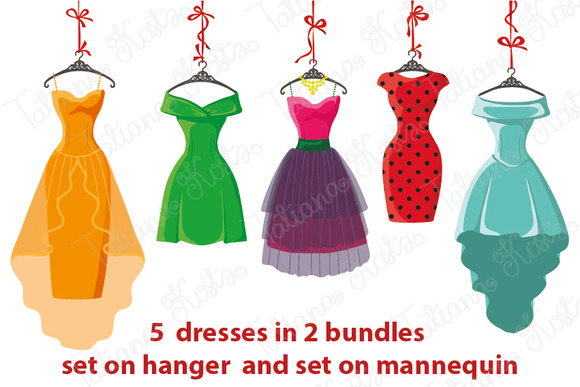5 Colored Women S Dresses Vector