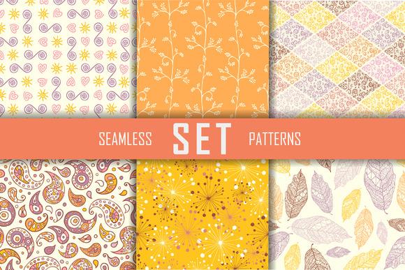 6 Seamless Flat Vector Patterns Set