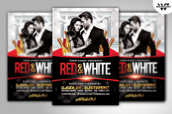 RED WHITE Flyer Template