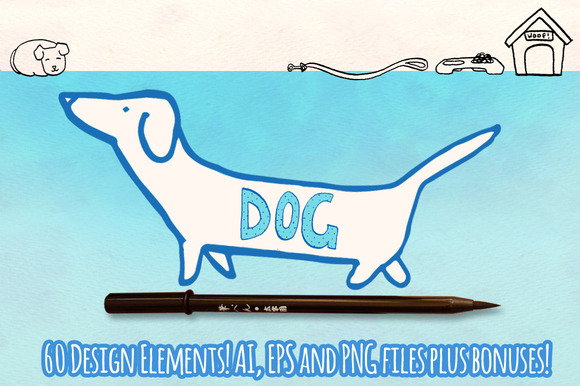 60 Dog Vector Graphics Bundle