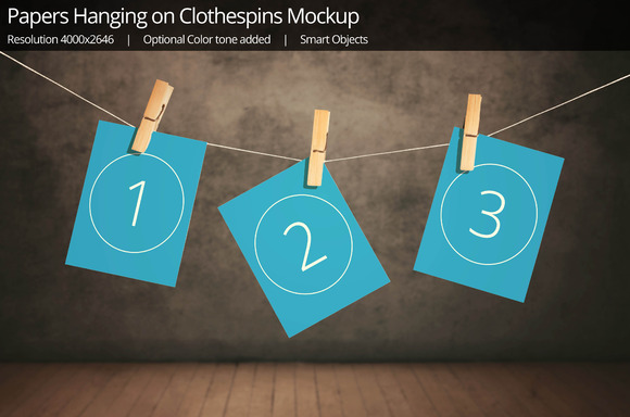 Photo Frame Clothespins Mockup 1