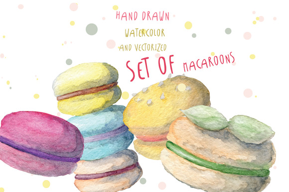 Watercolor Macaroons Set Hand Drawn