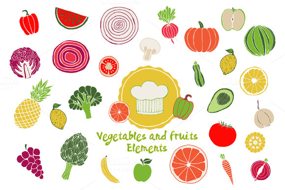 Vector Vegetables Fruits Elements