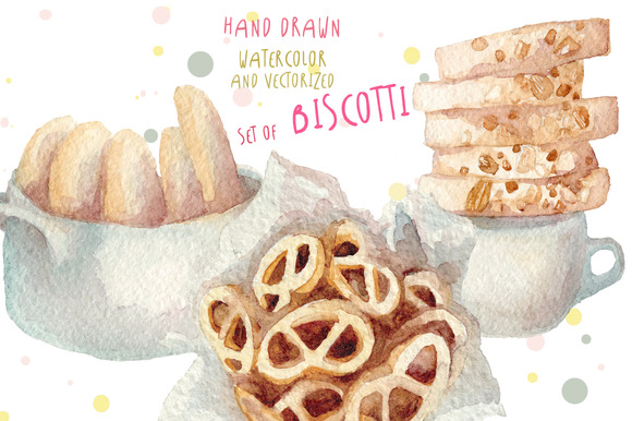 Watercolor Biscotti Set Hand Drawn