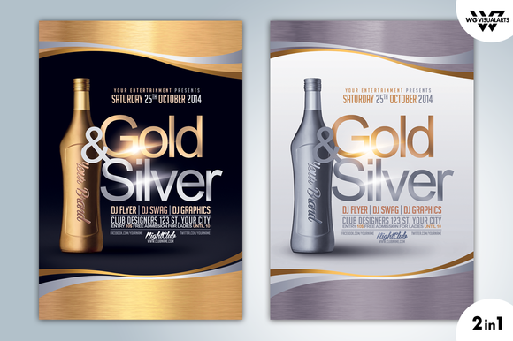 GOLD SILVER DRINK Flyer Template