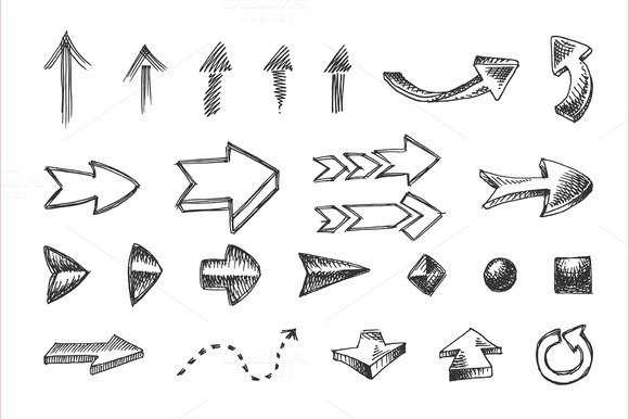 Hand Drawn Arrows Icons Set