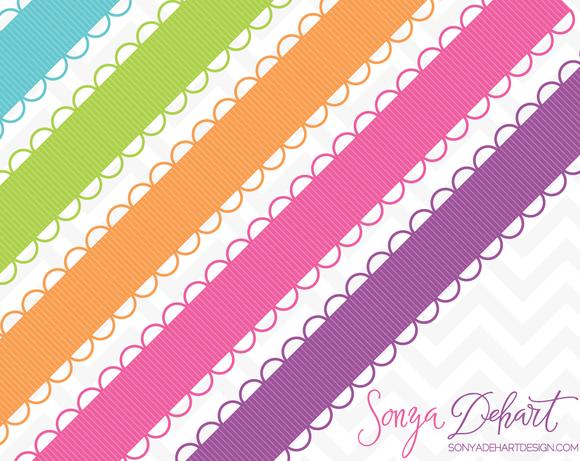 Scallop Ribbon Borders 45 Colors