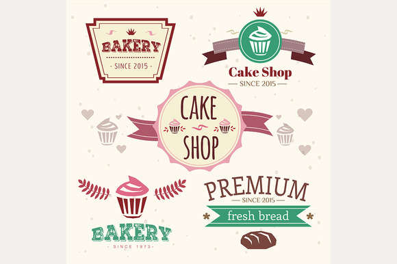 Abstract Vector Bakery Logo Set