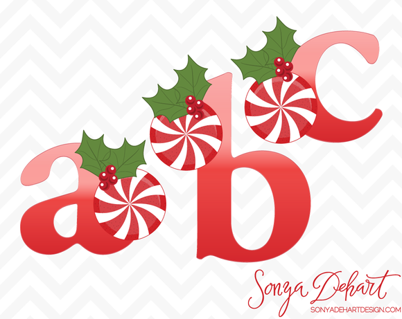 Christmas Peppermint Holly Alphabet