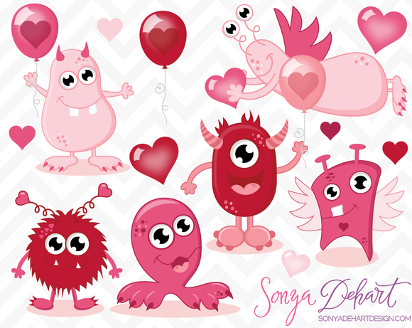 Valentine S Day Monsters Clip Art