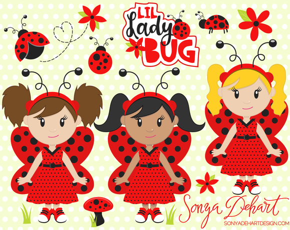 Ladybugs Vector Clip Art Set