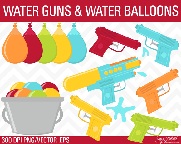 Water Guns Water Balloons Clip Art