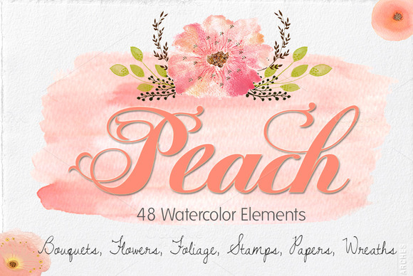 Peach- Watercolor Invitation Set