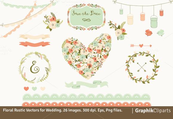 Floral Rustic Vectors For Wedding
