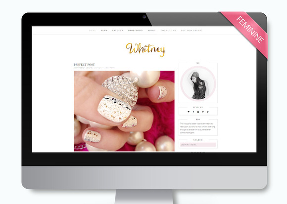 Feminine Wordpress Theme Whitney