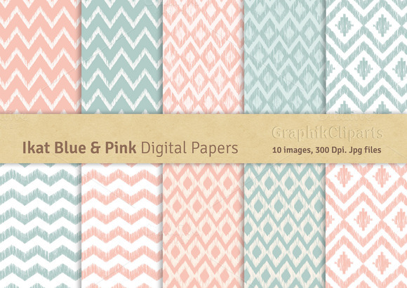 Ikat Blue Pink Digital Papers