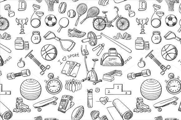 Hand Drawn Fitness Sport Doodle Patt