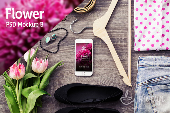 IPhone 6 PSD Mockup Flower B