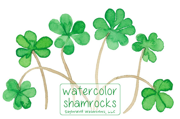 Watercolor Shamrocks Clip Art