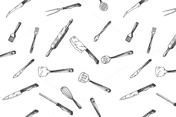 Hand Drawn Kitchen Utensils Pattern