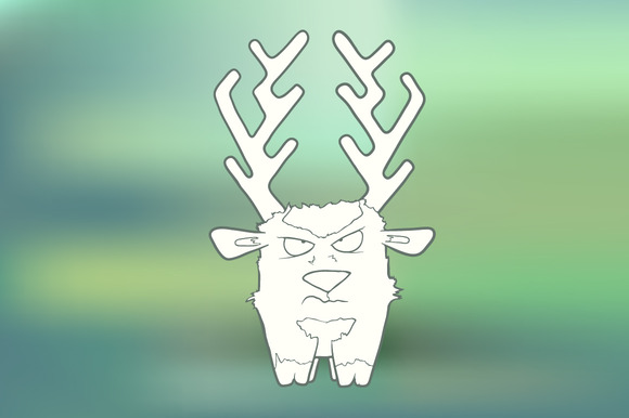 Hand-drawn Angry Deer With Horns