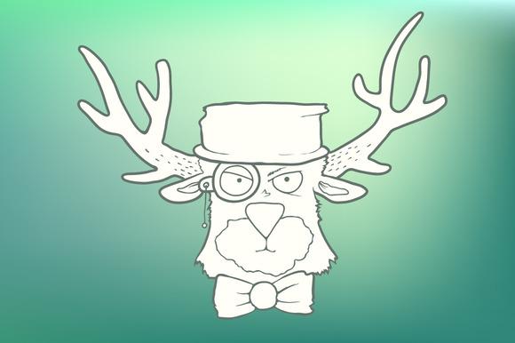 Hand-drawn Cute Head Of Hipster Deer