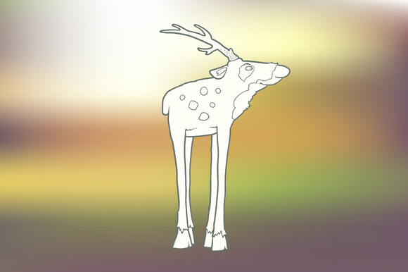 Hand-drawn Deer With Long Legs