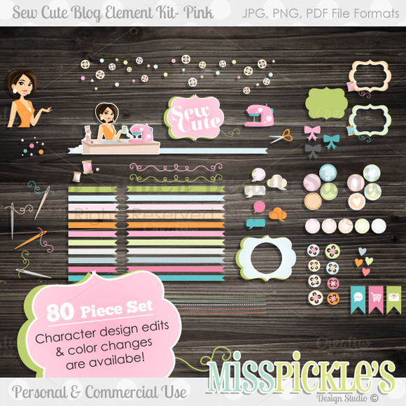 Sew Cute Blog Design Elements Kit- P