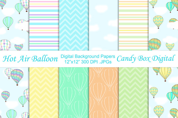 Hot Air Balloon Background Papers