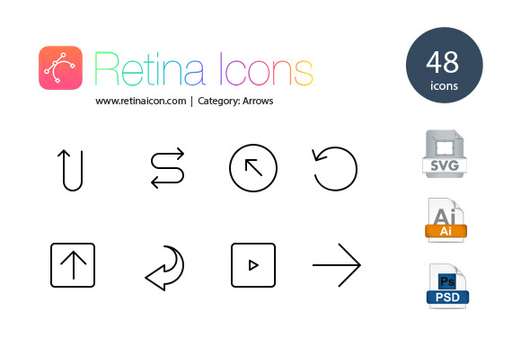 48 Retina Arrow Icons