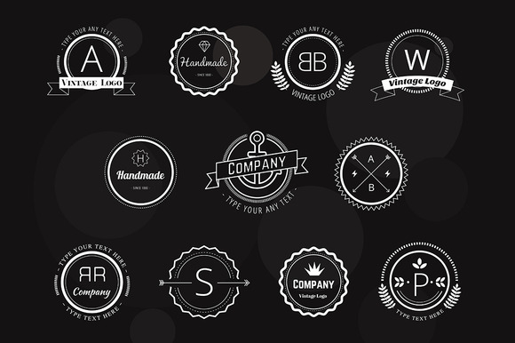 Abstract Vector Vintage Logo Set