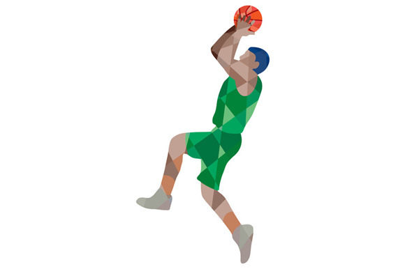 Basketball Player Jump Shot Ball Low