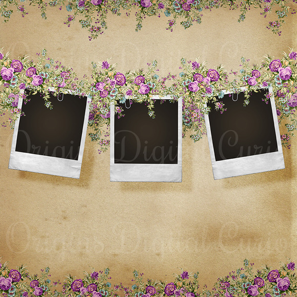 Vintage Floral Photo Frame Template