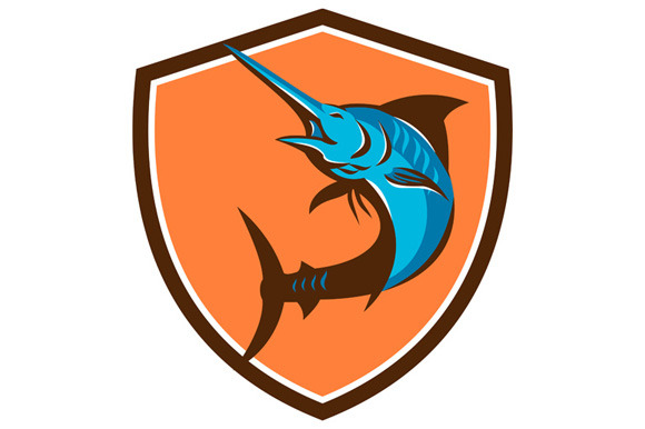 Blue Marlin Fish Jumping Shield Retr