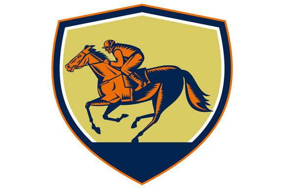 Jockey Horse Racing Shield Woodcut