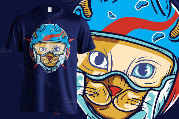 Cat In Blue Helmet