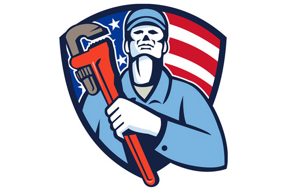 Plumber Holding Wrench USA Flag Shie