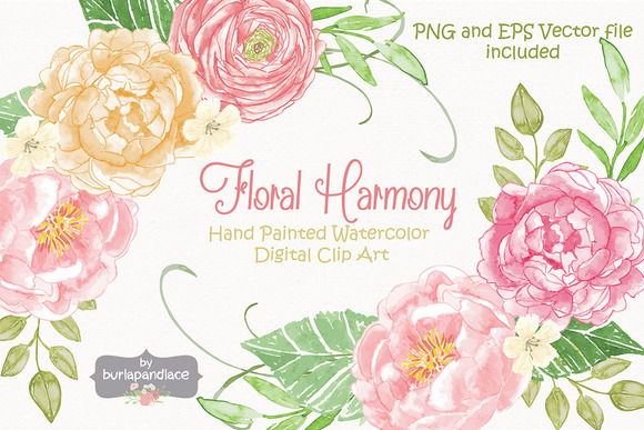 Vector Watercolor Floral Harmony 1