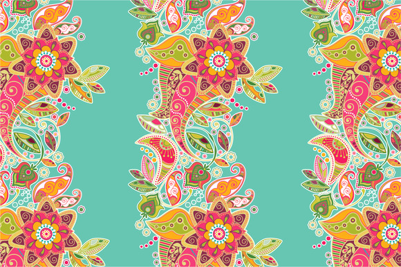 2 Striped Seamless Floral Pattern