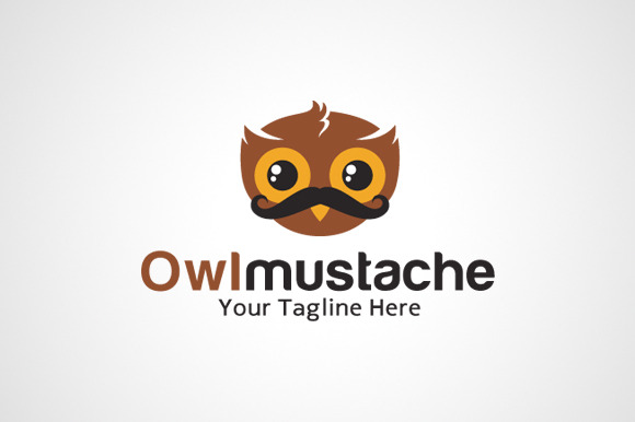 Owl Mustache Logo Design Icon