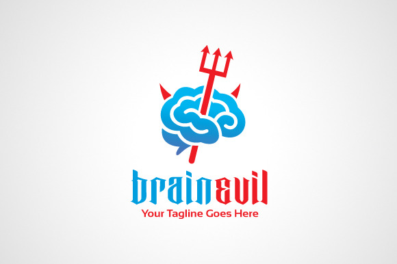 Brain Evil Logo Design Icon
