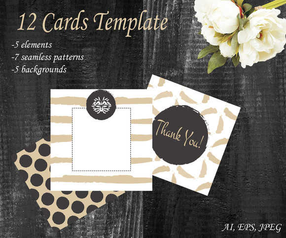 12 Card Set Template Gold And White