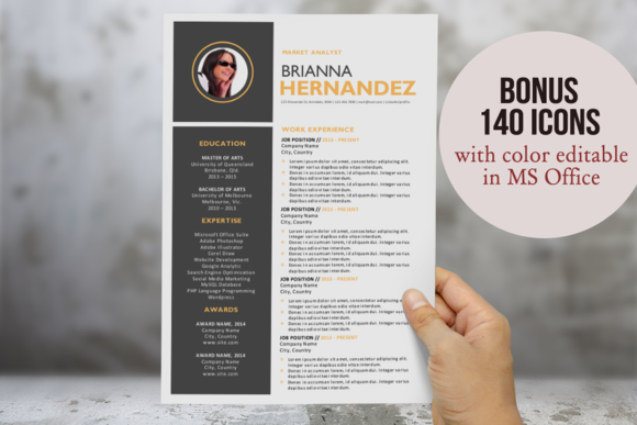 3 In 1 Creative Photo Word Resume