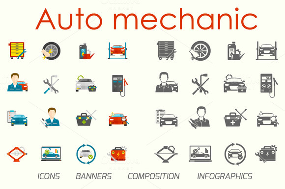 Auto Mechanic Flat Vector Set