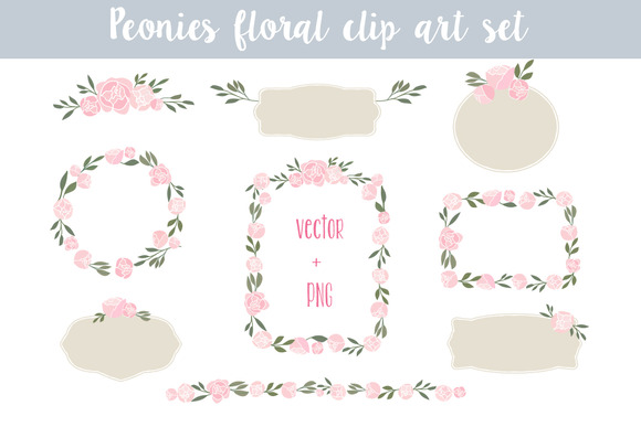 Peonies Floral Clip Art Set 2