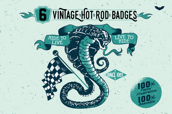 6 Vintage Hot Rod Badges