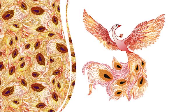 Phoenix Bird Seamless Pattern