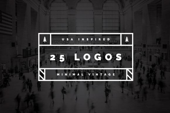 25 US Inspired Minimal Vintage Logos