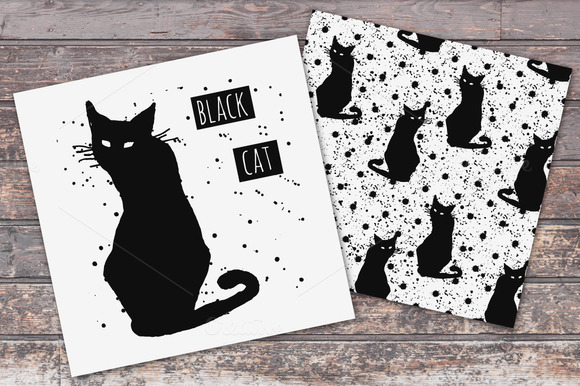 Black Cats Illustrations Patterns